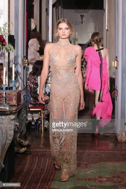 A model walks the runway during the Dundas Haute Couture Fall/Winter 20172018 show as part of Haute Couture Paris Fashion Week on July 2 2017 in...