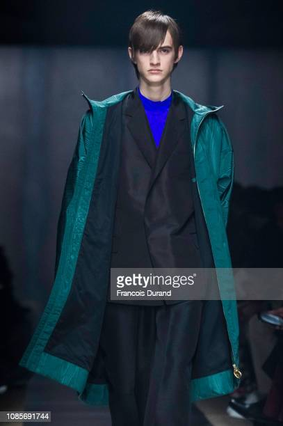 Model walks the runway during the Dunhill London Menswear Fall/Winter 2019-2020 show as part of Paris Fashion Week on January 20, 2019 in Paris,...