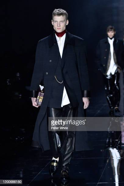 Model walks the runway during the Dunhill Menswear Fall/Winter 2020-2021 show as part of Paris Fashion Week on January 19, 2020 in Paris, France.