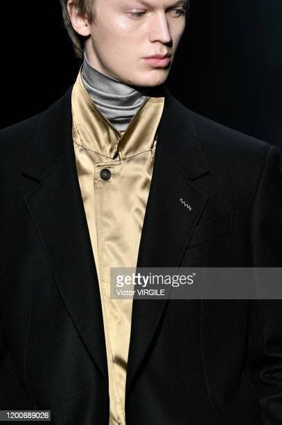 Model walks the runway during the Dunhill Menswear Fall/Winter 2020-2021 fashion show as part of Paris Fashion Week on January 19, 2020 in Paris,...