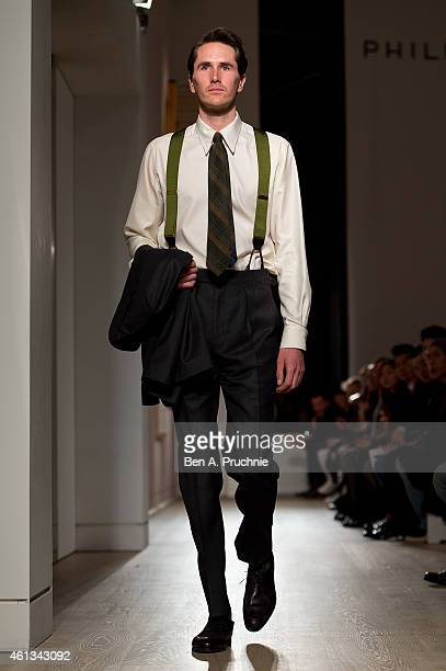 A model walks the runway during the Dunhill show at the London Collections Men AW15 at on January 11 2015 in London England