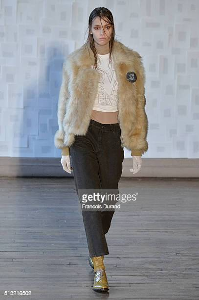 A model walks the runway during the Each X Other show as part of the Paris Fashion Week Womenswear Fall/Winter 2016/2017 on March 1 2016 in Paris...