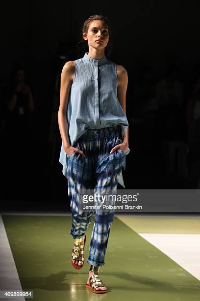 Model walks the runway during the CS Edit X Kirrily Johnston show at Mercedes-Benz Fashion Week Australia 2015 at Carriageworks on April 16, 2015 in...