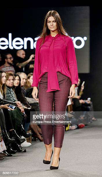 A model walks the runway during the Elena Miro fashion show on February 10 2016 in Madrid Spain