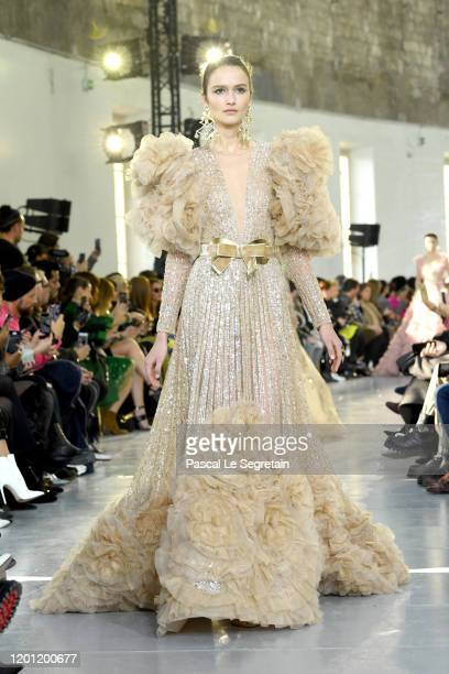 A model walks the runway during the Elie Saab Haute Couture Spring/Summer 2020 show as part of Paris Fashion Week on January 22 2020 in Paris France