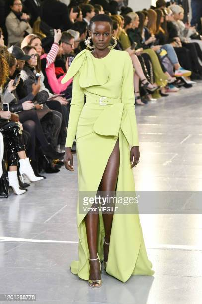 Model walks the runway during the Elie Saab Haute Couture Spring/Summer 2020 fashion show as part of Paris Fashion Week on January 22, 2020 in Paris,...