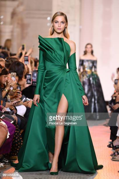 A model walks the runway during the Elie Saab Haute Couture Fall Winter 2018/2019 show as part of Paris Fashion Week on July 4 2018 in Paris France