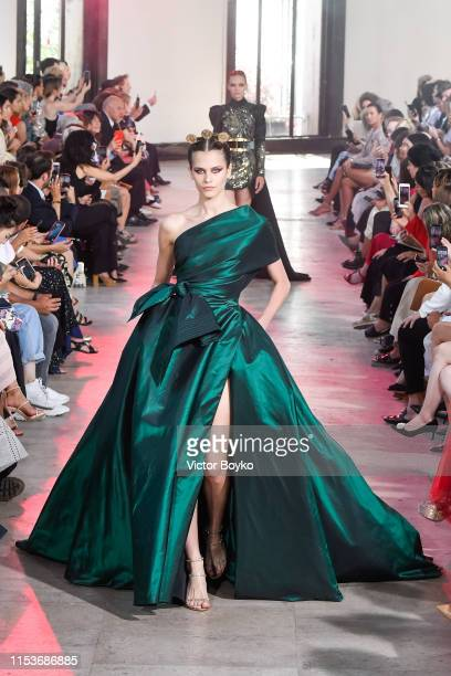 Model walks the runway during the Elie Saab Haute Couture Fall/Winter 2019 2020 show as part of Paris Fashion Week on July 3, 2019 in Paris, France.