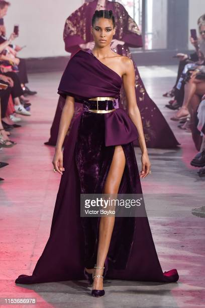 A model walks the runway during the Elie Saab Haute Couture Fall/Winter 2019 2020 show as part of Paris Fashion Week on July 3 2019 in Paris France
