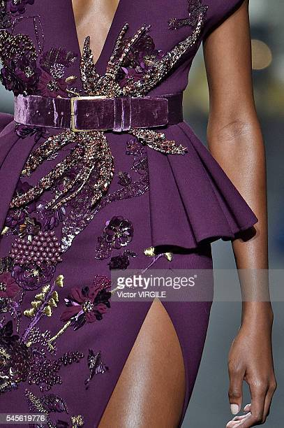 A model walks the runway during the Elie Saab Haute Couture Fall/Winter 20162017 show as part of Paris Fashion Week on July 6 2016 in Paris France