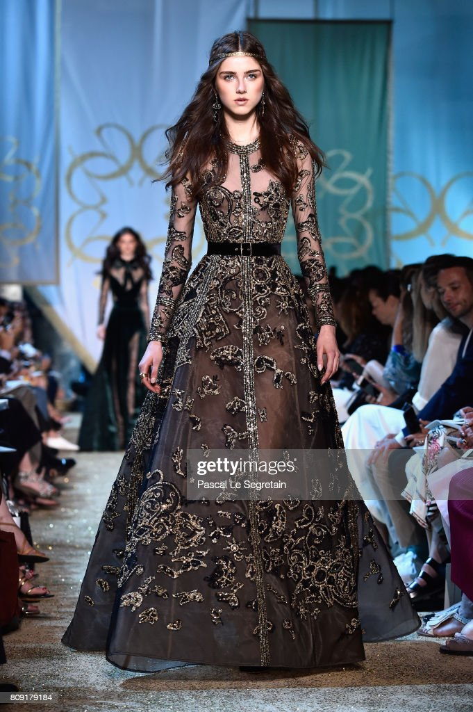 A model walks the runway during the Elie Saab Haute Couture Fall/Winter 2017-2018 show as part of Haute Couture Paris Fashion Week on July 5, 2017 in Paris, France.