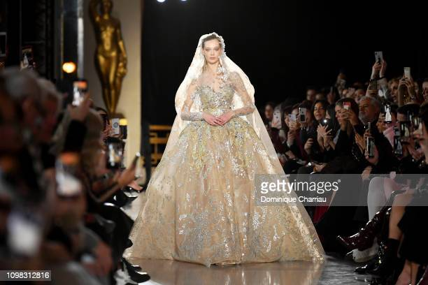 Model walks the runway during the Elie Saab Haute Couture Spring Summer 2019 show as part of Paris Fashion Week on January 23, 2019 in Paris, France.