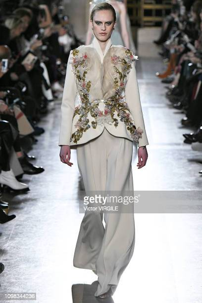 A model walks the runway during the Elie Saab Haute Couture Spring Summer 2019 fashion show as part of Paris Fashion Week on January 23 2019 in Paris...