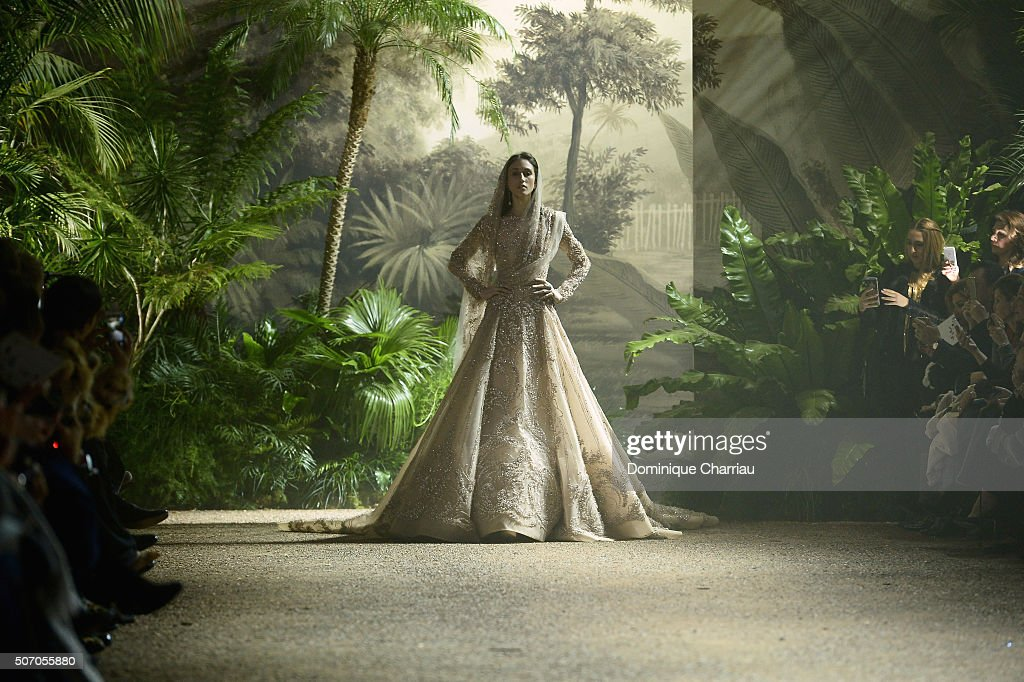 A model walks the runway during the Elie Saab Haute Couture Spring Summer 2016 show as part of Paris Fashion Week on January 27, 2016 in Paris, France.