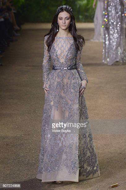 A model walks the runway during the Elie Saab Haute Couture Spring Summer 2016 show as part of Paris Fashion Week on January 27 2016 in Paris France