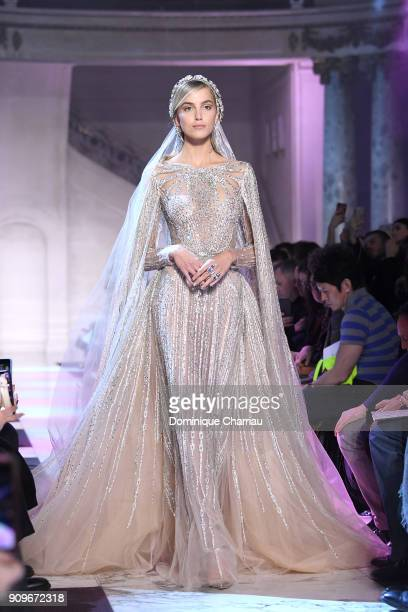 A model walks the runway during the Elie Saab Haute Couture Spring Summer 2018 show as part of Paris Fashion Week on January 24 2018 in Paris France