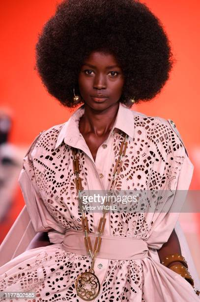 Model walks the runway during the Elie Saab Ready to Wear Spring/Summer 2020 fashion show as part of Paris Fashion Week on September 28, 2019 in...