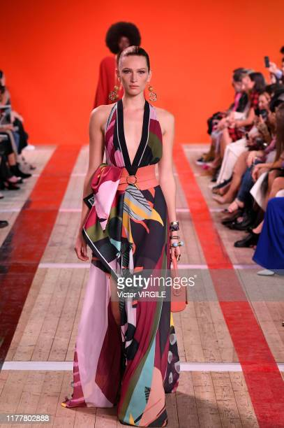 A model walks the runway during the Elie Saab Ready to Wear Spring/Summer 2020 fashion show as part of Paris Fashion Week on September 28 2019 in...