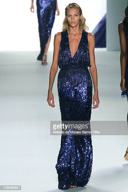 Model walks the runway during the Elie Saab Ready to Wear Spring / Summer 2012 show during Paris Fashion Week at Espace Ephemere Tuileries on October...
