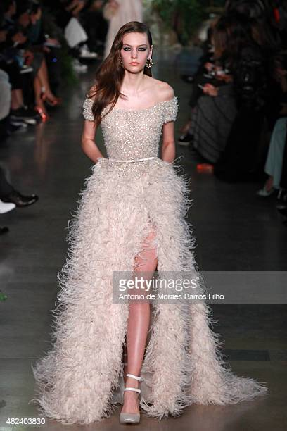 Model walks the runway during the Elie Saab show as part of Paris Fashion Week Haute Couture Spring/Summer 2015 on January 28, 2015 in Paris, France.