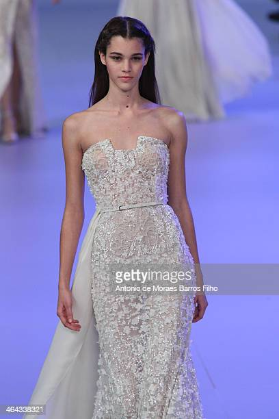 Model walks the runway during the Elie Saab show as part of Paris Fashion Week Haute Couture Spring/Summer 2014 on January 22, 2014 in Paris, France.
