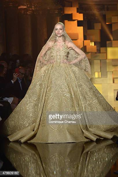Model walks the runway during the Elie Saab show as part of Paris Fashion Week Haute Couture Fall/Winter 2015/2016 on July 8, 2015 in Paris, France.