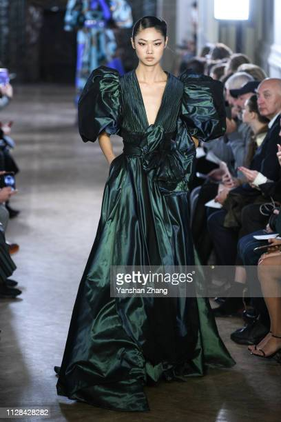 A model walks the runway during the Elie Saab show as part of the Paris Fashion Week Womenswear Fall/Winter 2019/2020 on March 2 2019 in Paris France