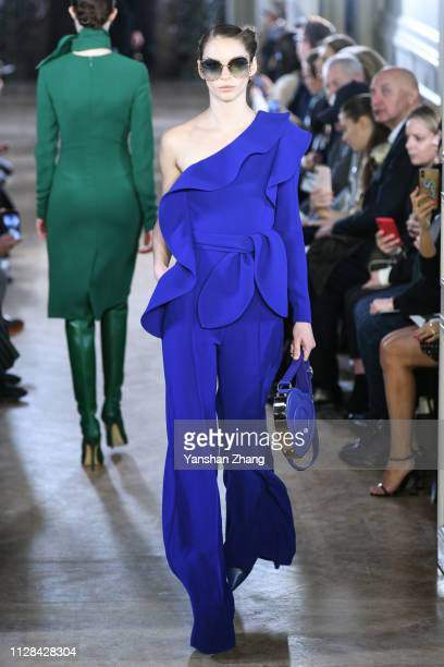Model walks the runway during the Elie Saab show as part of the Paris Fashion Week Womenswear Fall/Winter 2019/2020 on March 2, 2019 in Paris, France.