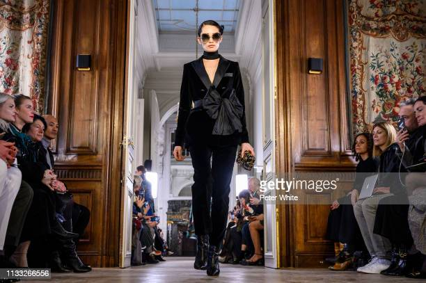 Model walks the runway during the Elie Saab show as part of the Paris Fashion Week Womenswear Fall/Winter 2019/2020 on March 02, 2019 in Paris,...
