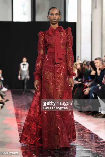Model walks the runway during the Elie Saab show as part of the Paris Fashion Week Womenswear Fall/Winter 2020/2021 on February 29, 2020 in Paris,...