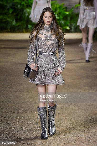 A model walks the runway during the Elie Saab Spring Summer 2016 show as part of Paris Fashion Week on January 27 2016 in Paris France