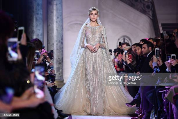 A model walks the runway during the Elie Saab Spring Summer 2018 show as part of Paris Fashion Week on January 24 2018 in Paris France