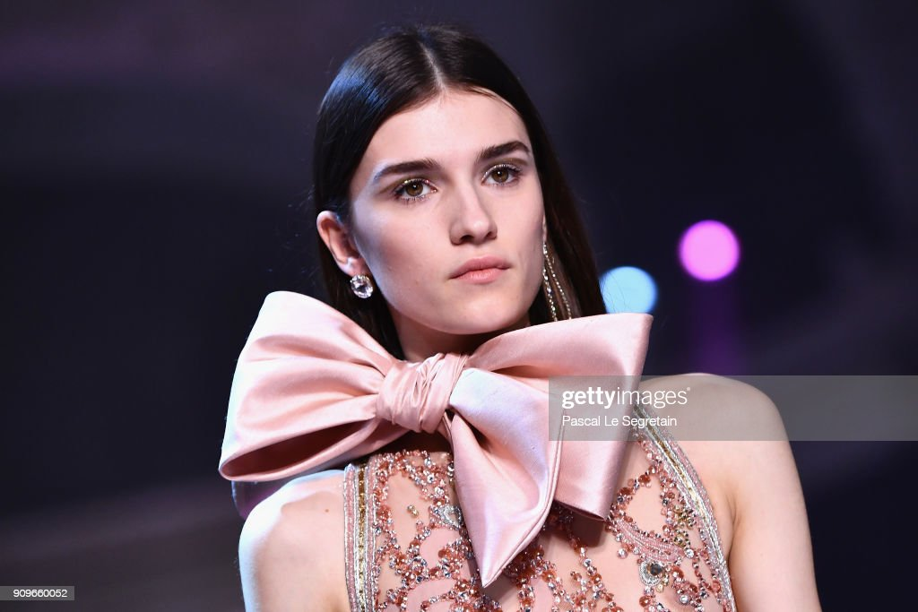 A model walks the runway during the Elie Saab Spring Summer 2018 show as part of Paris Fashion Week on January 24, 2018 in Paris, France.