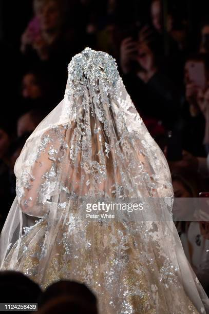 A model walks the runway during the Elie Saab Spring Summer 2019 show as part of Paris Fashion Week on January 23 2019 in Paris France