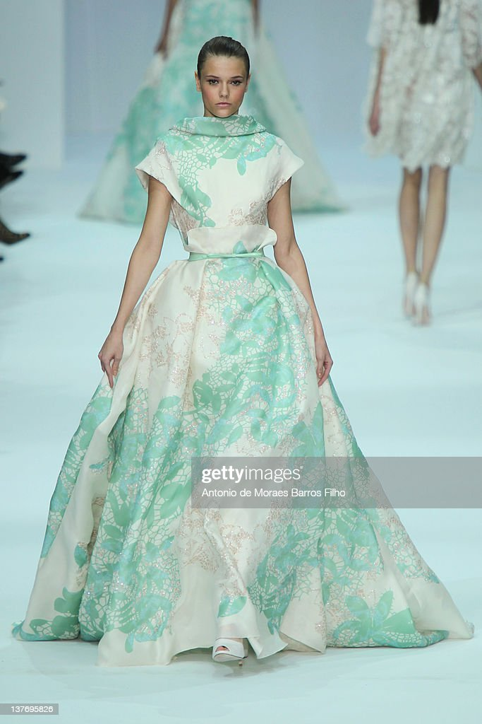 A model walks the runway during the Elie Saab Spring/Summer 2012 Haute-Couture Show as part of Paris Fashion Week at Grand Palais on January 25, 2012 in Paris, France.