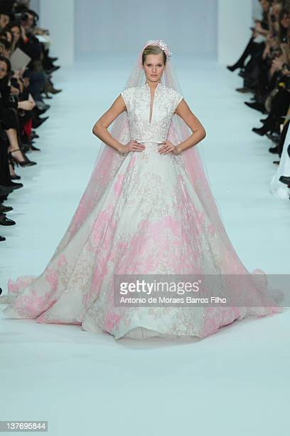 Model walks the runway during the Elie Saab Spring/Summer 2012 Haute-Couture Show as part of Paris Fashion Week at Grand Palais on January 25, 2012...
