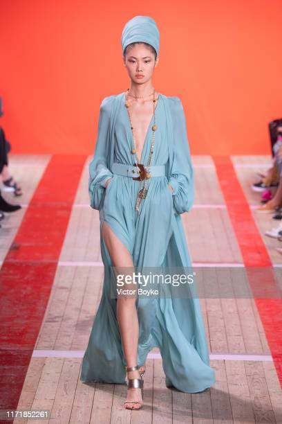 A model walks the runway during the Elie Saab Womenswear Spring/Summer 2020 show as part of Paris Fashion Week on September 28 2019 in Paris France