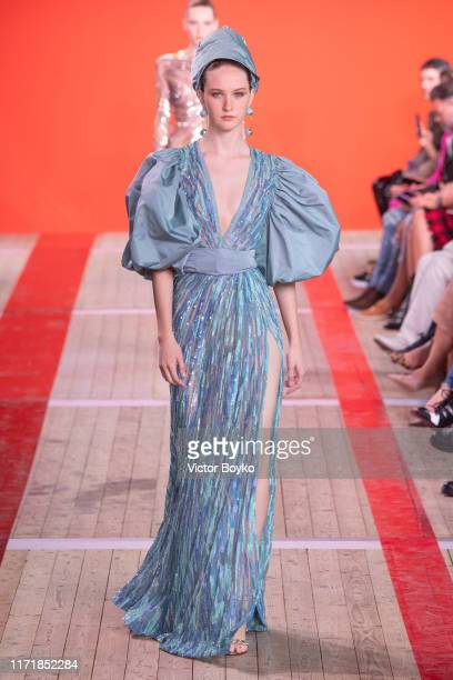 Model walks the runway during the Elie Saab Womenswear Spring/Summer 2020 show as part of Paris Fashion Week on September 28, 2019 in Paris, France.