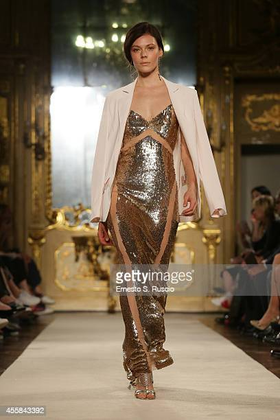 A model walks the runway during the Elisabetta Franchi Show as part of Milan Fashion Week Womenswear Spring/Summer 2015 on September 20 2014 in Milan...