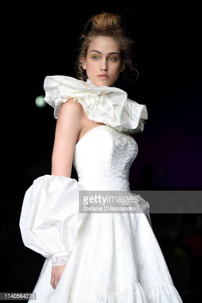 A model walks the runway during the Elisabetta Polignano show at Sposaitalia Collezioni on April 05 2019 in Milan Italy