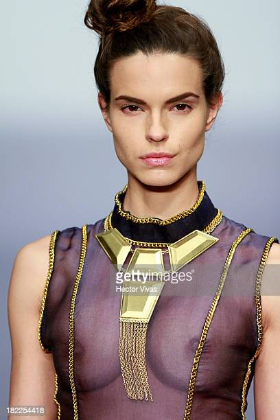 A model walks the runway during the Elle Mexico Disena show at Mercedes Benz Fashion Week Mexico 2013 on September 28 2013 in Mexico City Mexico
