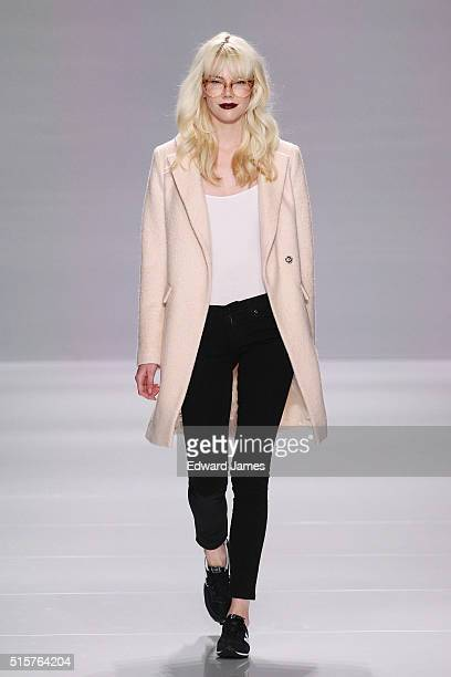 A model walks the runway during the Ellie Mae fashion show at David Pecaut Square on March 15 2016 in Toronto Canada