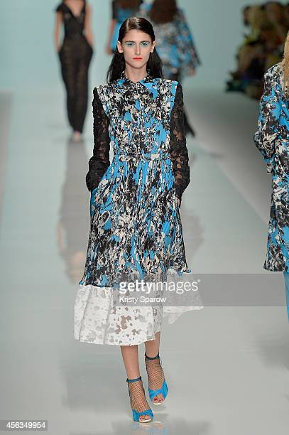 A model walks the runway during the Emanuel Ungaro show as part of Paris Fashion Week Womenswear Spring/Summer 2015 on September 29 2014 in Paris...