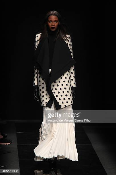 A model walks the runway during the Emanuel Ungaro show as part of the Paris Fashion Week Womenswear Fall/Winter 2015/2016 on March 8 2015 in Paris...