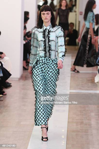A model walks the runway during the Emanuel Ungaro show as part of the Paris Fashion Week Womenswear Spring/Summer 2016 on October 4 2015 in Paris...