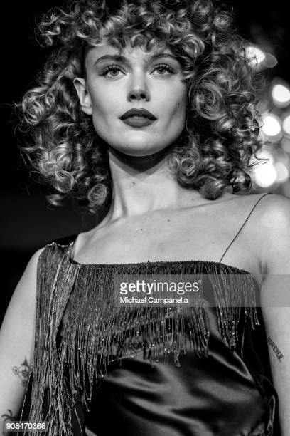 Model walks the runway during the Emelie Jarnel show on the first day of Stockholm Fashion Week at the Grand Hotel on January 21, 2018 in Stockholm,...