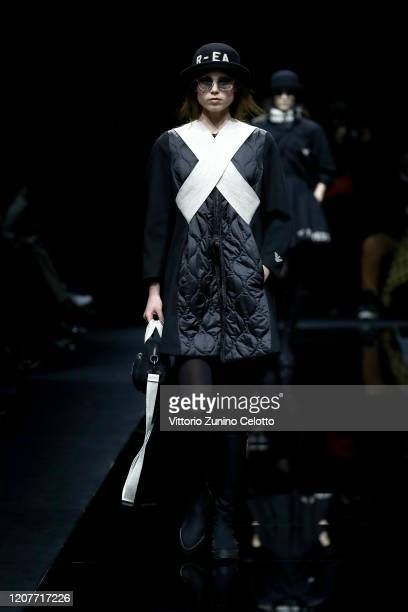 A model walks the runway during the Emporio Armani fashion show as part of Milan Fashion Week Fall/Winter 20202021 on February 21 2020 in Milan Italy