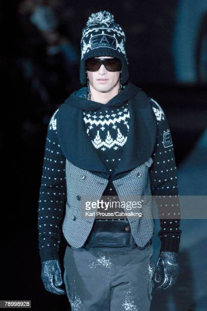 Model walks the runway during the Emporio Armani menswear collection show part of Milan Fashion Week Autumn/Winter 2008/09 on the 13th of January...