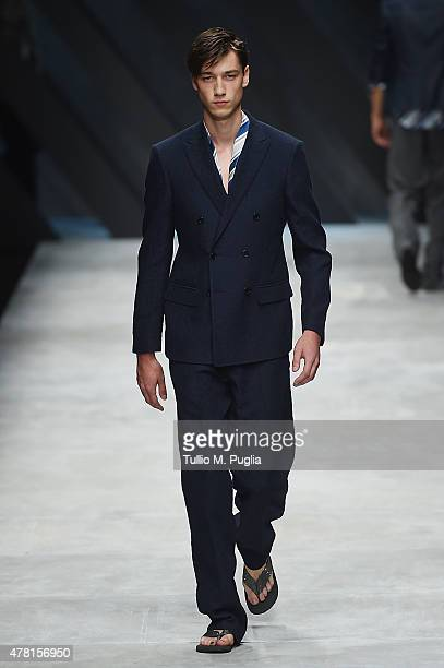 A model walks the runway during the Ermanno Scervino fashion show as part of Milan Men's Fashion Week Spring/Summer 2016 on June 23 2015 in Milan...