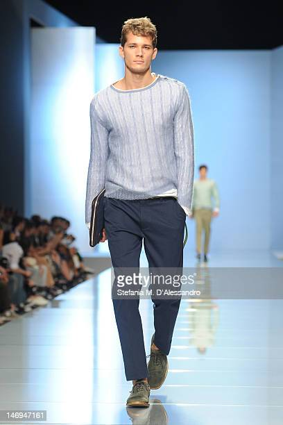 A model walks the runway during the Ermanno Scervino show as part of Milan Fashion Week Menswear Spring/Summer 2013 on June 24 2012 in Milan Italy